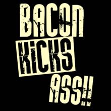 Bacon Kicks Ass!! Langarm T-Shirt