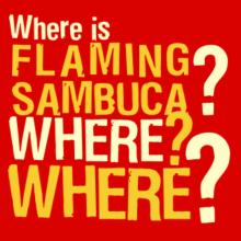 Where Is Flaming Sambuca? Where? Where? T-Shirt