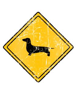 Dachshund Sign Old / Vintage Crossing Sign