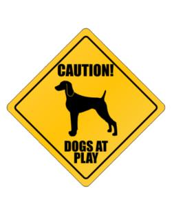 "Crossing Sign de "" Dogs at play Weimaraner """
