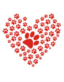 paws print heart shape Crossing Sign
