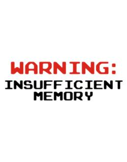 Warning insufficient memory Parking Sign