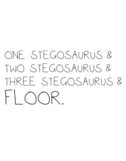 Street Sign de One Stegosaurus and two Stegosaurus and Stegosaurus and floor