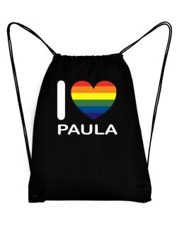 I Love Paula - Rainbow Heart Sport Bag