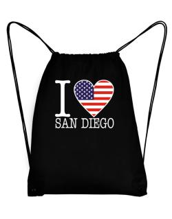 """ I love San Diego - American Flag "" Sport Bag"