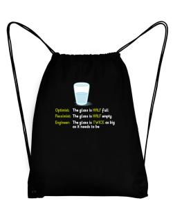 Optimist pessimist engineer glass problem Sport Bag