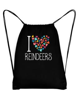 I love Reindeers colorful hearts Sport Bag