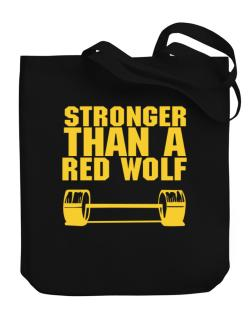 Stronger Than A Red Wolf Canvas Tote Bag