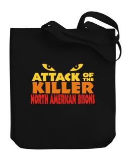 Attack Of The Killer North American Bisons Canvas Tote Bag