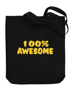 100% Awesome Canvas Tote Bag