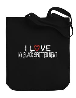 I Love My Black Spotted Newt Canvas Tote Bag