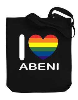 I Love Abeni - Rainbow Heart Canvas Tote Bag