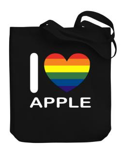 I Love Apple - Rainbow Heart Canvas Tote Bag