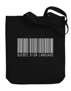 Quebec Sign Language Barcode Canvas Tote Bag
