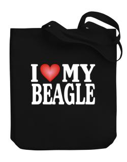 I Love Beagle Canvas Tote Bag