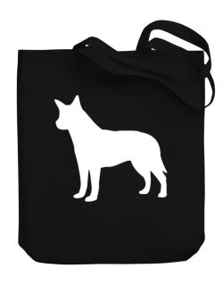 Australian Cattle Dog Silhouette Embroidery Canvas Tote Bag
