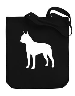 Boston Terrier Silhouette Embroidery Canvas Tote Bag