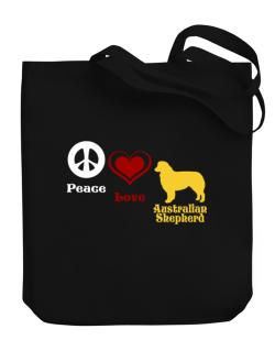 Peace, Love, Australian Shepherd Canvas Tote Bag
