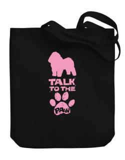 Talk To The Paw Bolognese Canvas Tote Bag