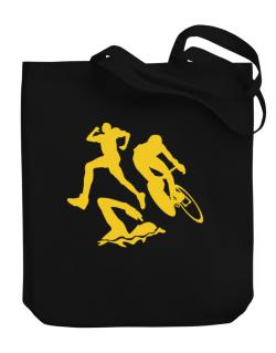 Triathlon Canvas Tote Bag