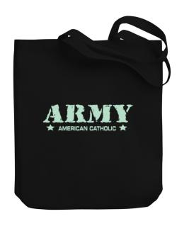 Army American Catholic Canvas Tote Bag