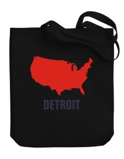 Detroit - Usa Map Canvas Tote Bag