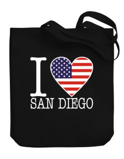 """ I love San Diego - American Flag "" Canvas Tote Bag"