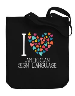 I love American Sign Language colorful hearts Canvas Tote Bag