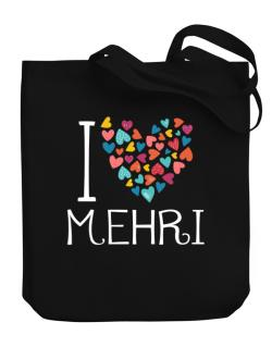 I love Mehri colorful hearts Canvas Tote Bag