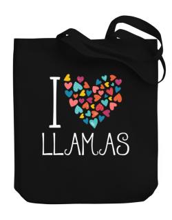 I love Llamas colorful hearts Canvas Tote Bag