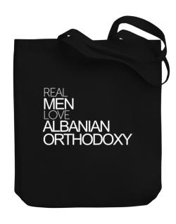 Real men love Albanian Orthodoxy Canvas Tote Bag