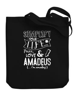 Simplify your life: Peace, love and Amadeus Canvas Tote Bag