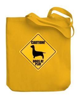 """ Dogs at play Dachshund ""  Canvas Tote Bag"