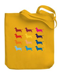 Colorful Dachshund Canvas Tote Bag
