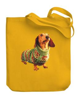 Dachshund christmas sweater Canvas Tote Bag
