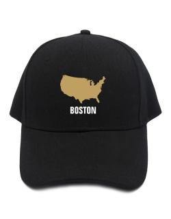 Boston - Usa Map Baseball Cap