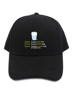Optimist pessimist engineer glass problem Baseball Cap