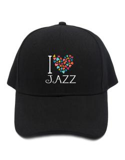 I love Jazz colorful hearts Baseball Cap