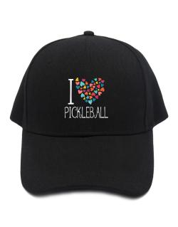 I love Pickleball colorful hearts Baseball Cap