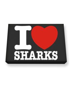 I Love Sharks Canvas square