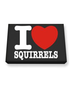 I Love Squirrels Canvas square