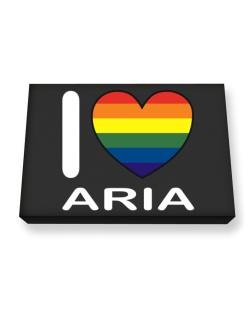 I Love Aria - Rainbow Heart Canvas square