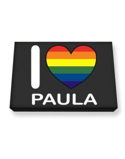I Love Paula - Rainbow Heart Canvas square