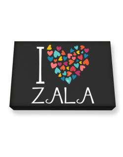 I love Zala colorful hearts Canvas square