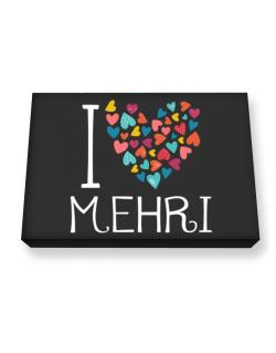 I love Mehri colorful hearts Canvas square