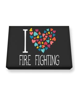 I love Fire Fighting colorful hearts Canvas square