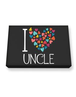 I love Auncle colorful hearts Canvas square