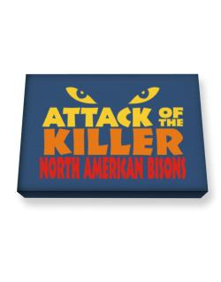Attack Of The Killer North American Bisons Canvas square