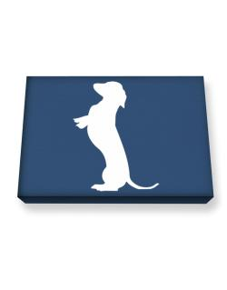Begging Dachshund Canvas square