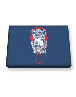 Llama with headphones Canvas square
